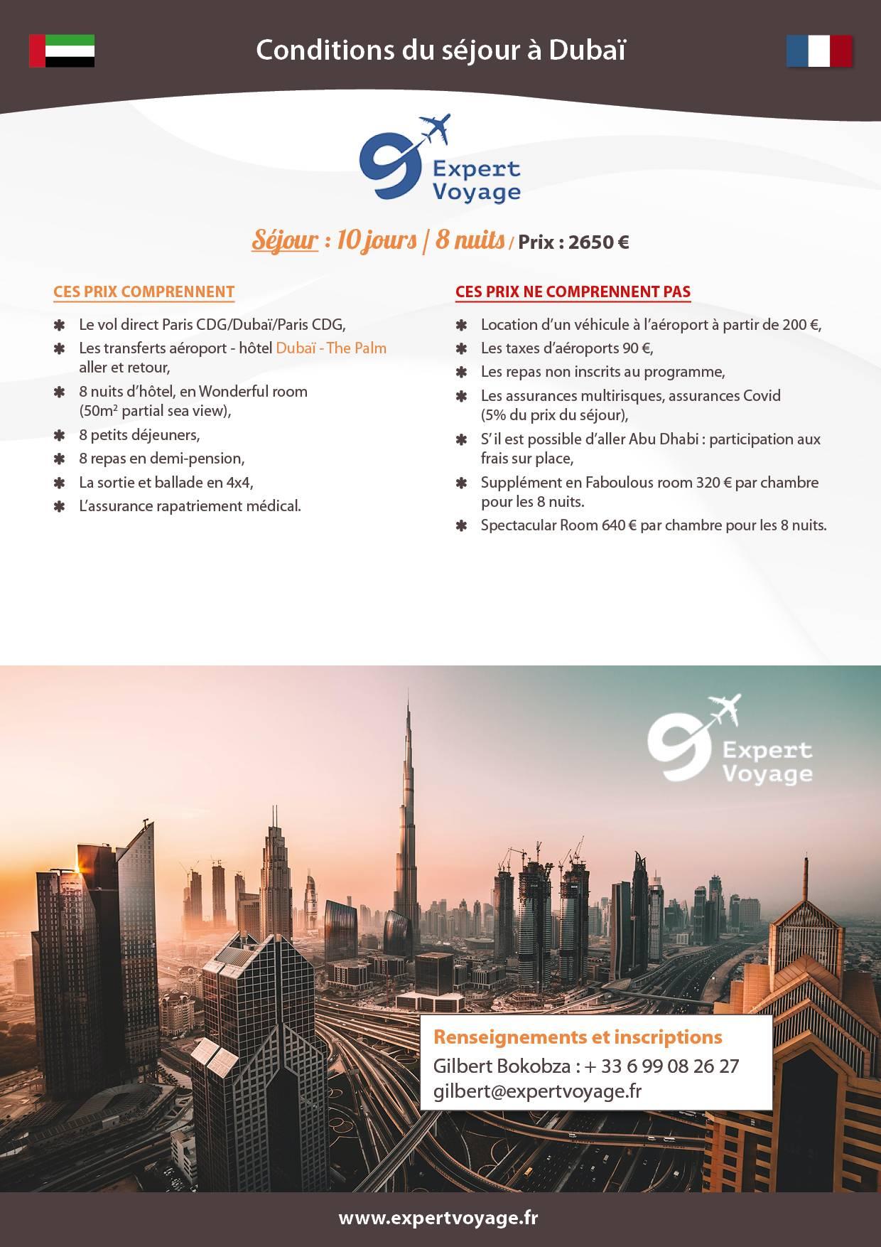 Voyage à Dubaï en avril 2021